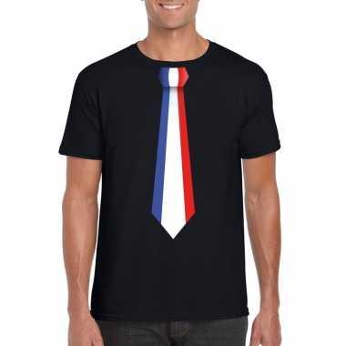 Zwart t shirt frankrijk vlag stropdas heren