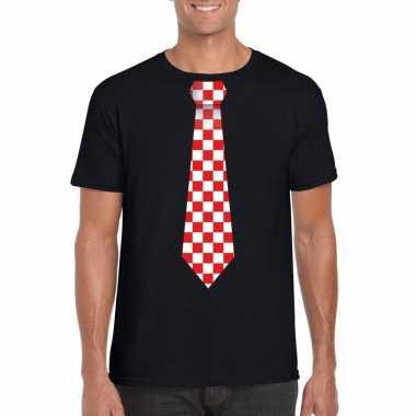 Zwart t shirt geblokte brabant stropdas heren