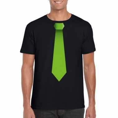 Zwart t shirt groene stropdas heren