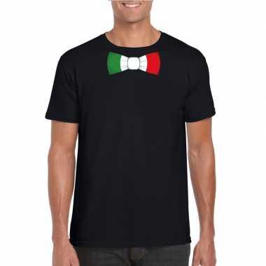 Zwart t shirt italie vlag strikje heren