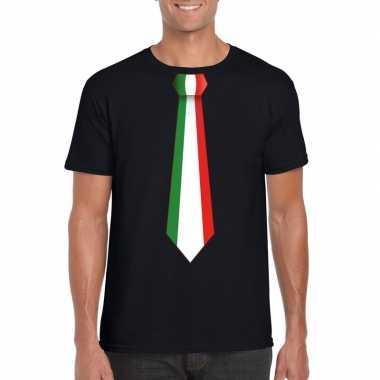 Zwart t shirt italie vlag stropdas heren