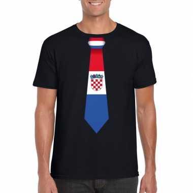 Zwart t shirt kroatie vlag stropdas heren