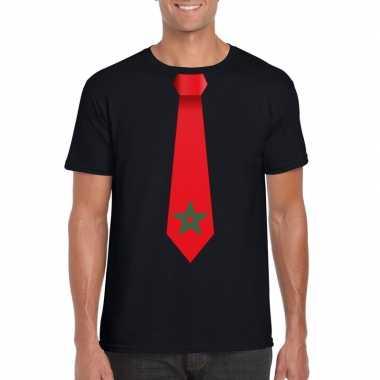 Zwart t shirt marokko vlag stropdas heren