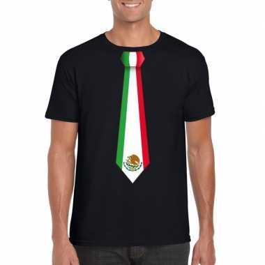 Zwart t shirt mexico vlag stropdas heren