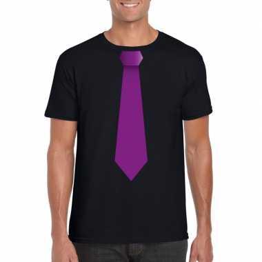 Zwart t shirt paarse stropdas heren