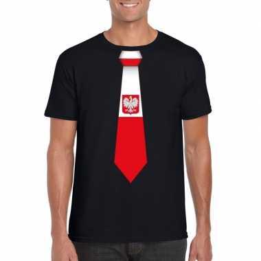 Zwart t shirt polen vlag stropdas heren