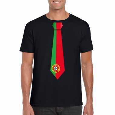 Zwart t shirt portugal vlag stropdas heren