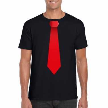 Zwart t shirt rode stropdas heren