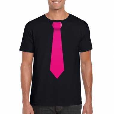 Zwart t shirt roze stropdas heren