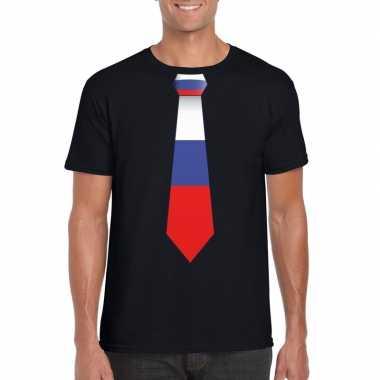 Zwart t shirt rusland vlag stropdas heren