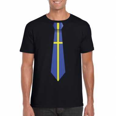 Zwart t shirt zweden vlag stropdas heren