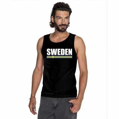 Zwart zweden supporter singlet shirt/ tanktop heren