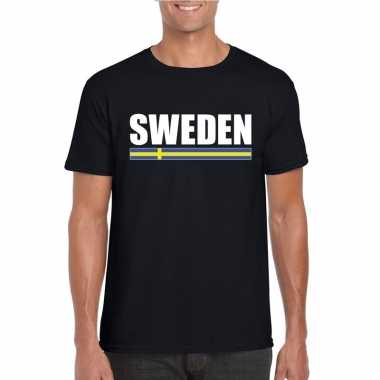 Zwart zweden supporter t shirt heren