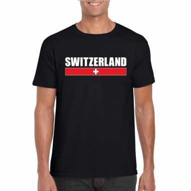 Zwart zwitserland supporter t shirt heren