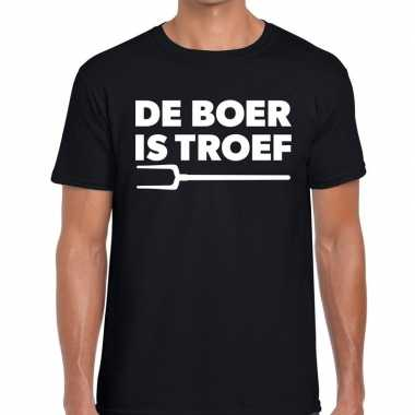 Zwarte cross boer is troef festival t shirt zwart heren
