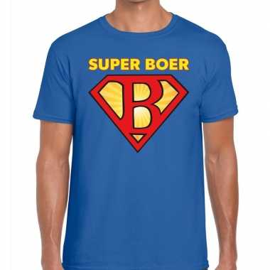 Zwarte cross super boer festival t shirt blauw heren