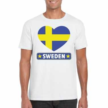 Zweden hart vlag t shirt wit heren
