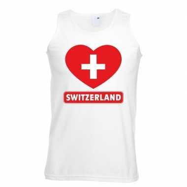 Zwitserland hart vlag singlet shirt/ tanktop wit heren