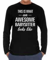 Awesome babysitter oppas cadeau t-shirt long sleeves heren