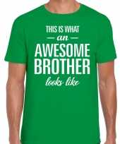 Awesome brother tekst t-shirt groen heren