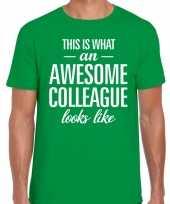 Awesome colleague tekst t-shirt groen heren