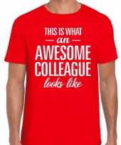 Awesome colleague tekst t-shirt rood heren