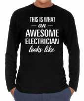 Awesome electrician elektricien cadeau t-shirt long sleeve heren