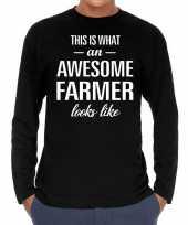 Awesome farmer boer cadeau t-shirt long sleeves heren