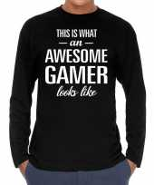 Awesome geweldige gamer cadeau t-shirt long sleeves heren