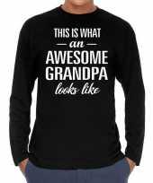 Awesome grandpa opa cadeau shirt long sleeves heren