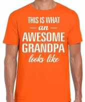 Awesome grandpa opa cadeau t-shirt oranje heren vaderdag
