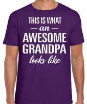 Awesome grandpa opa cadeau t-shirt paars heren vaderdag