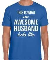 Awesome husband echtgenoot cadeau t-shirt blauw heren