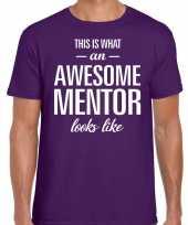Awesome mentor cadeau t-shirt paars heren
