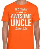 Awesome uncle oom cadeau t-shirt oranje heren