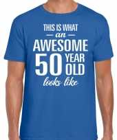 Awesome year jaar cadeau t-shirt blauw heren 10200021