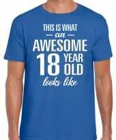 Awesome year jaar cadeau t-shirt blauw heren
