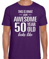 Awesome year jaar cadeau t-shirt paars heren 10200026