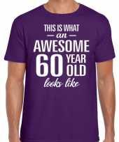 Awesome year jaar cadeau t-shirt paars heren 10200041