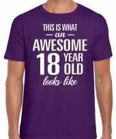 Awesome year jaar cadeau t-shirt paars heren
