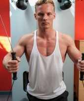 Bodybuilders heren t-shirt wit