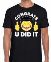 Congrats u did it t-shirt geslaagd afgestudeerd zwart heren