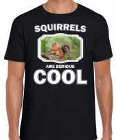 Dieren eekhoorntje t-shirt zwart heren squirrels are cool shirt