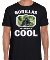Dieren gorilla t-shirt zwart heren gorillas are cool shirt