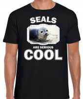 Dieren grijze zeehond t-shirt zwart heren seals are cool shirt