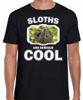 Dieren luiaard t-shirt zwart heren sloths are cool shirt