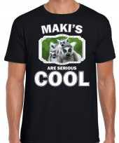Dieren maki t-shirt zwart heren makis are cool shirt