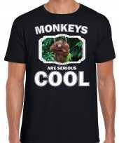 Dieren orangoetan t-shirt zwart heren monkeys are cool shirt