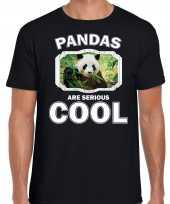 Dieren panda t-shirt zwart heren pandas are cool shirt