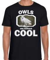 Dieren sneeuwuil t-shirt zwart heren owls are cool shirt